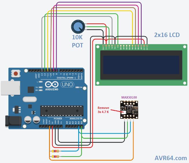 شماتیک انصال ماژول MAX30100 به آردوینو و LCD