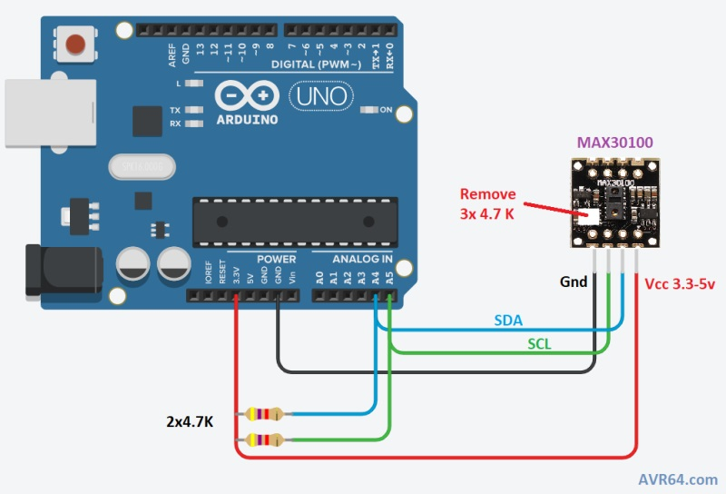 شماتیک ارتباط ماژول MAX30100 با آردوینو