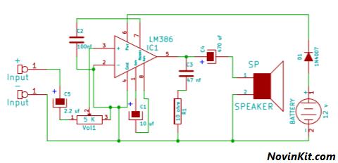 نقشه آمپلی فایر با آی سی LM386